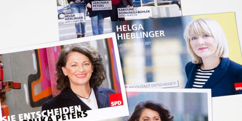 Fotografie und Design für Wahlkarten Veronika Peters, Helga Hieblinger und Karoline Schwärzli-Bühler