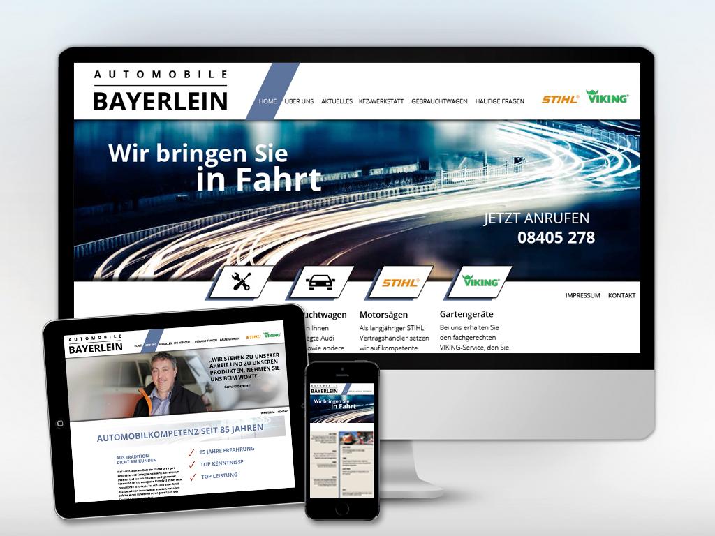 Internetauftritt für Automobile Bayerlein