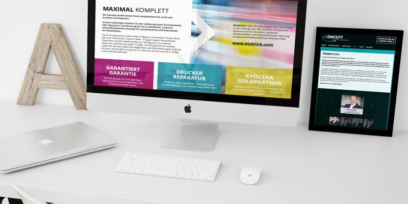 Responsive Webseite für Druckerservice Concept