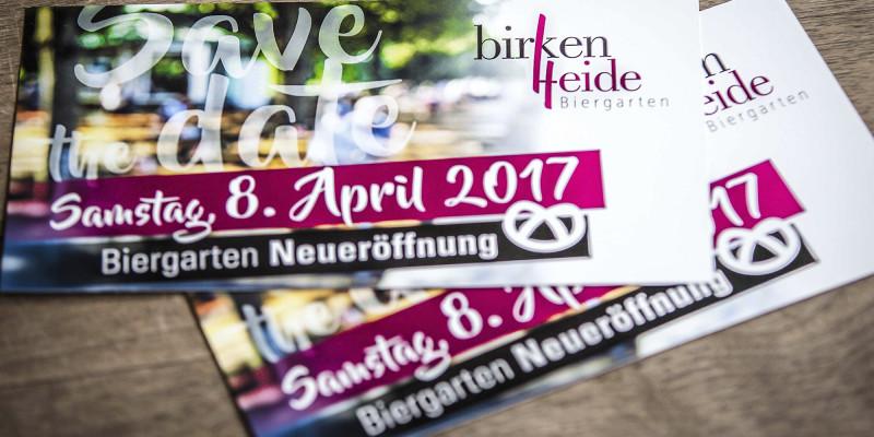 Einladungskarte – Neueröffnung Biergarten Birkenheide