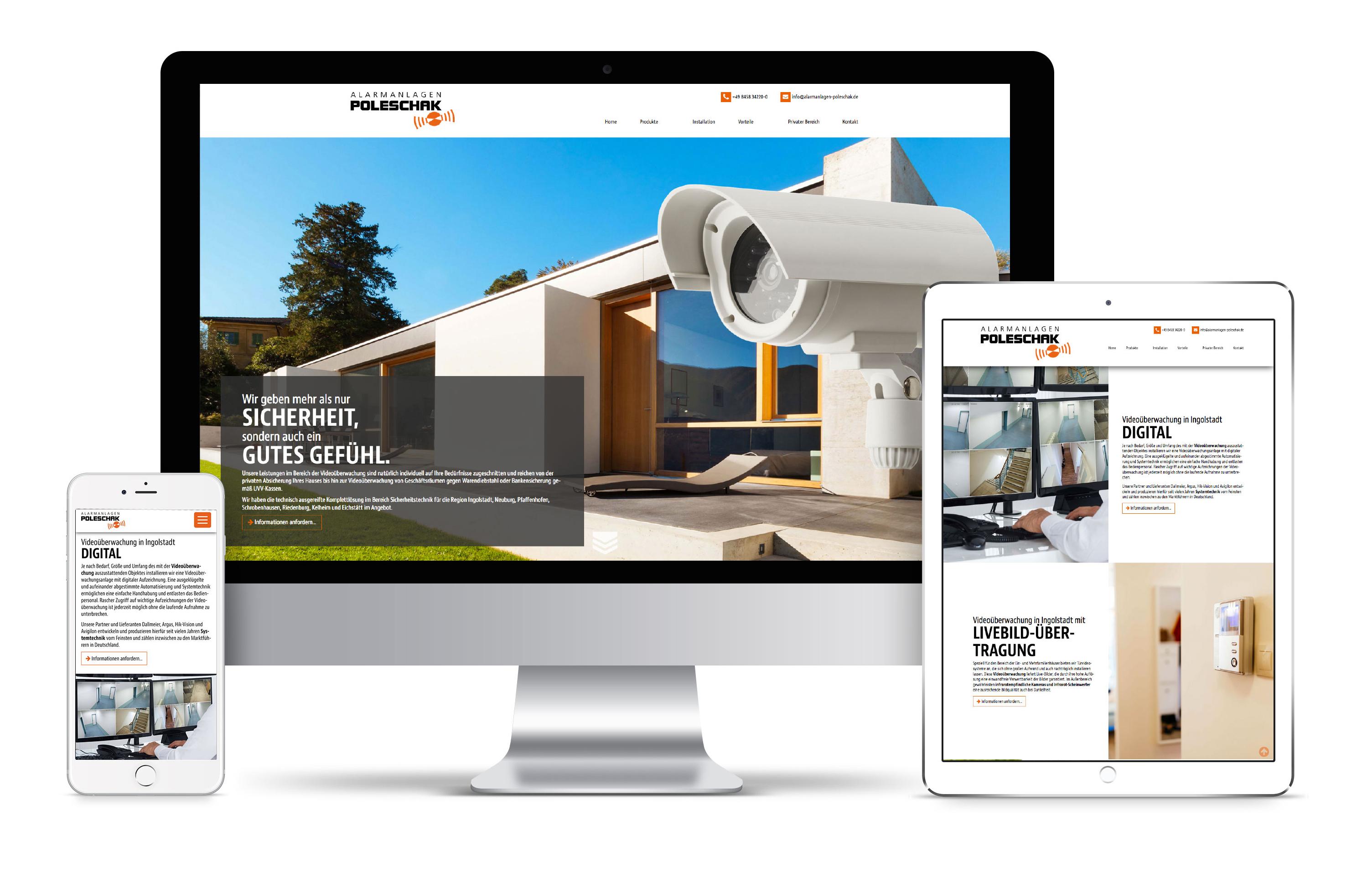 Neues Webdesign für Alarmanlagen Poleschak