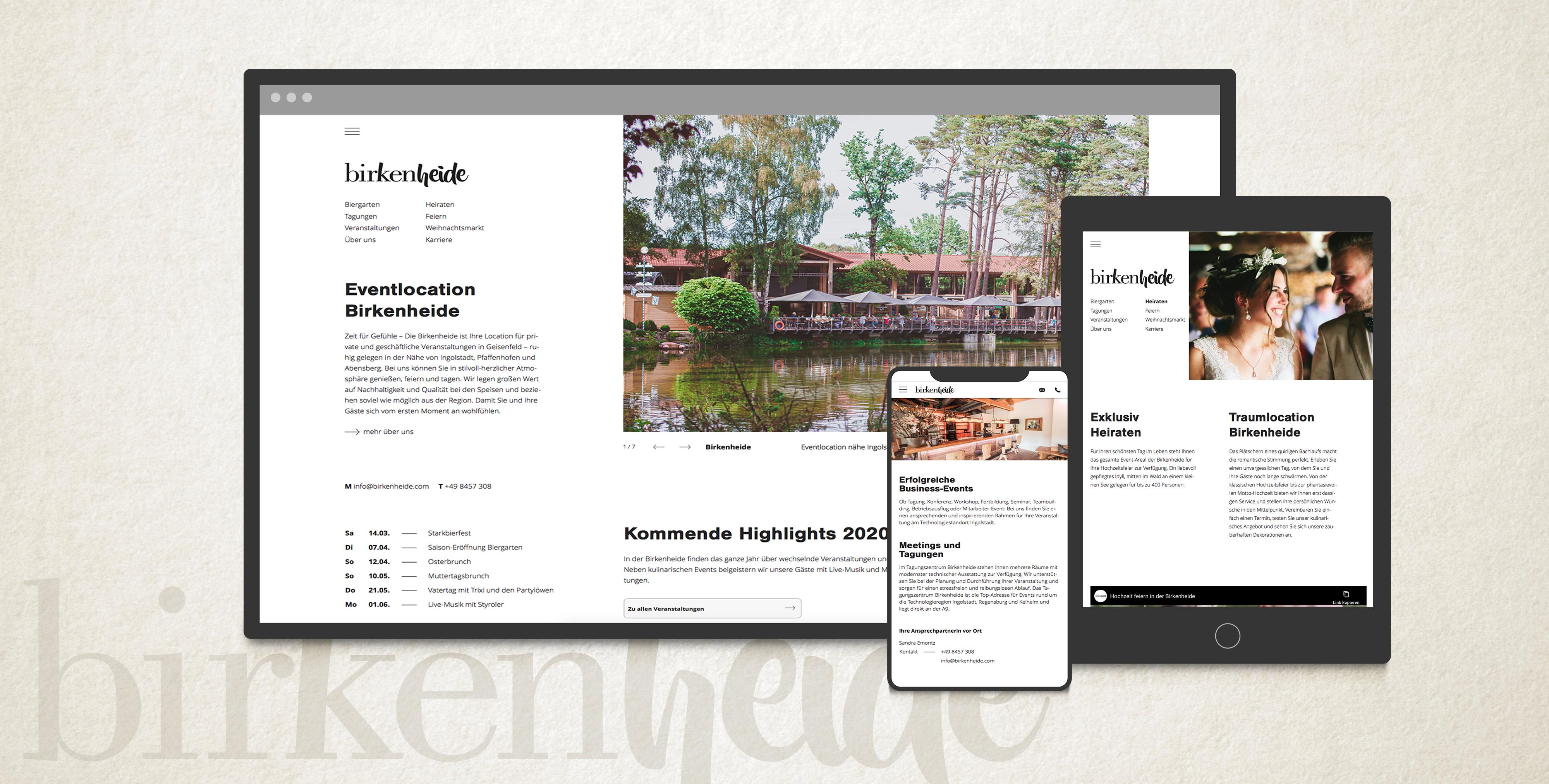Modernen Internetauftritt für Eventlocation Birkenheide in Geisenfeld