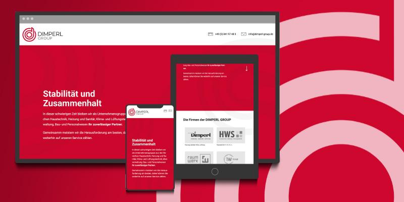 Internetauftritt responsive und Logoerstellung für Dimperl Group Ingolstadt